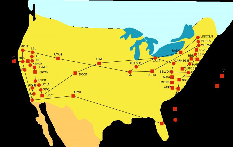 Сеть ARPANET в 1974