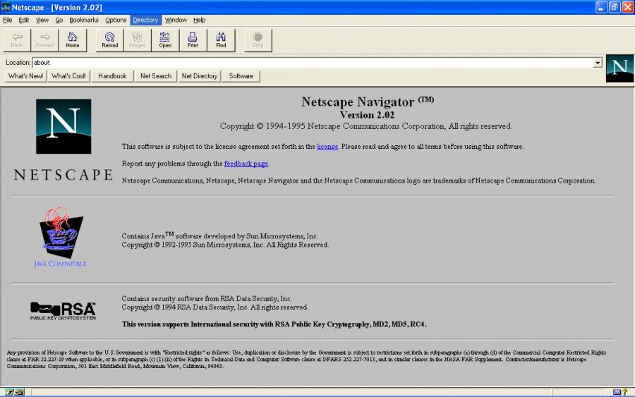 Интерфейс браузера Netscape