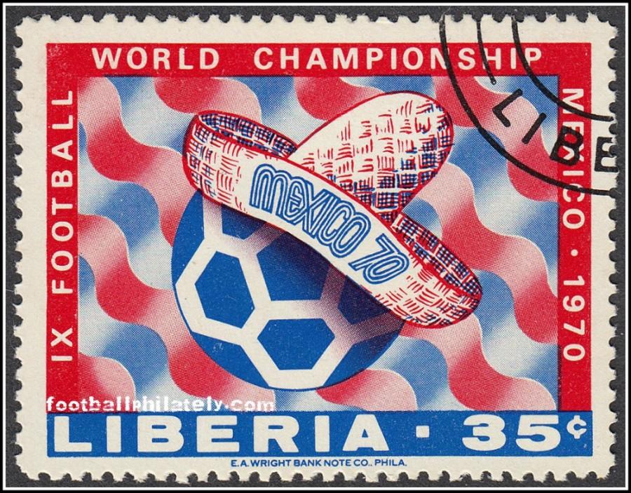 Чемпионат мира 1970 на либерйской открытке