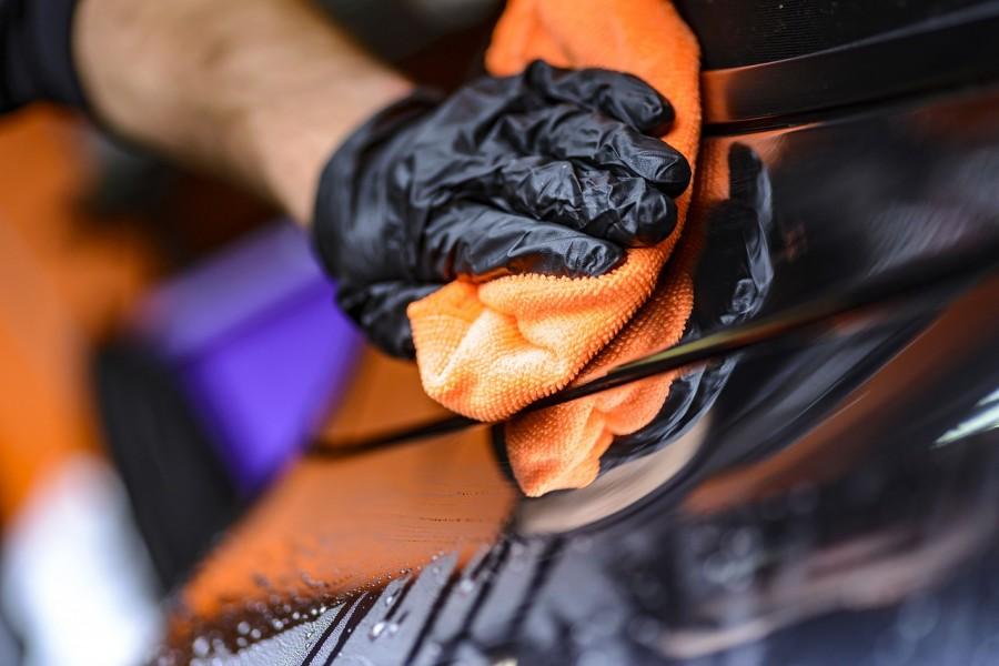 уборка, мыть, машина, тряпка, рука