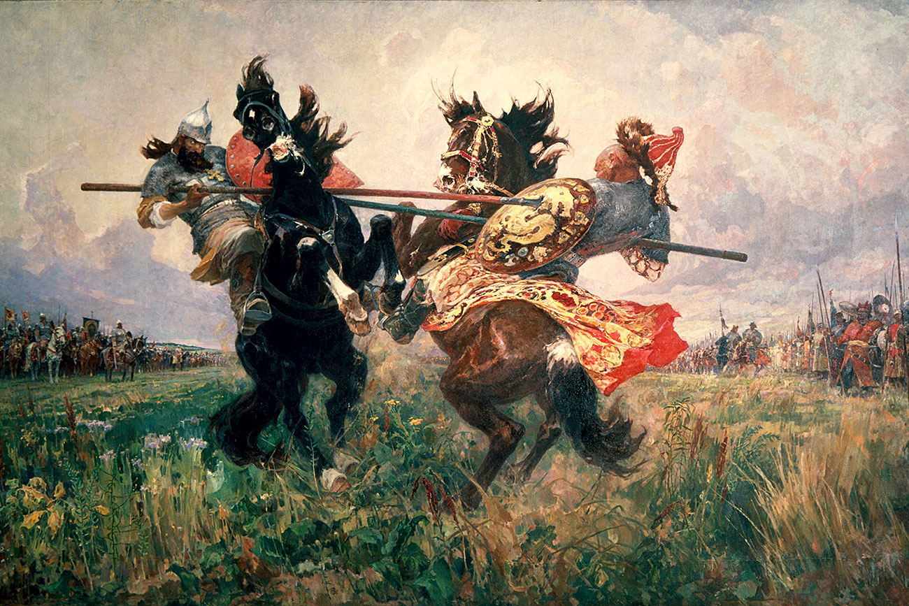 Mikhail Avilov, Single Combat on the Kulikovo Field, 1943, oil on canvas, State Russian Museum, St. Petersburg, Russia